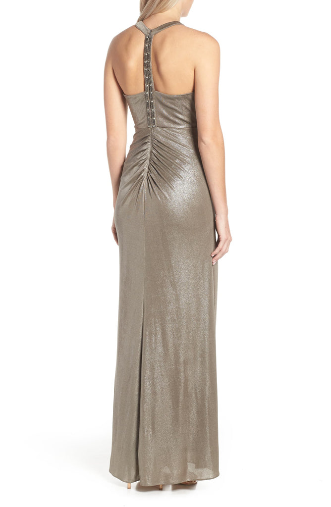 Yieldings Discount Clothing Store's Metallic Formal Evening Dress by Adrianna Papell in Mink