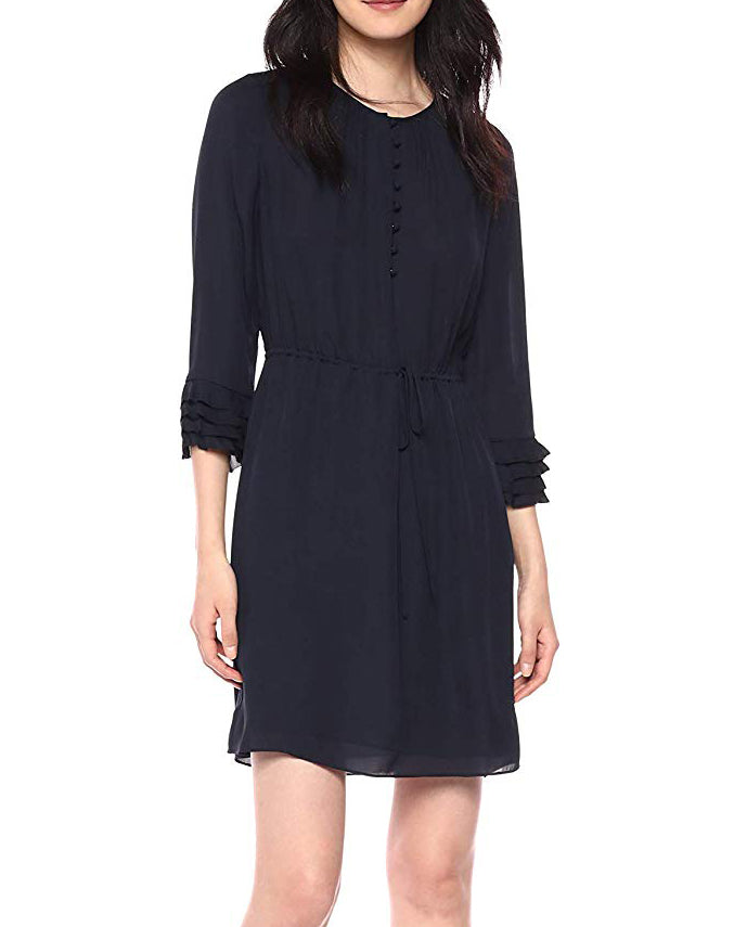 Yieldings Discount Clothing Store's Ruffled Silk Georgette Dress by Rebecca Taylor in Black