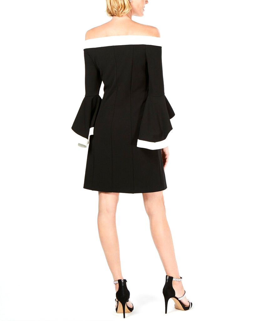 Yieldings Discount Clothing Store's Colorblocked Off-The-Shoulder Sheath Dress by MSK in Black