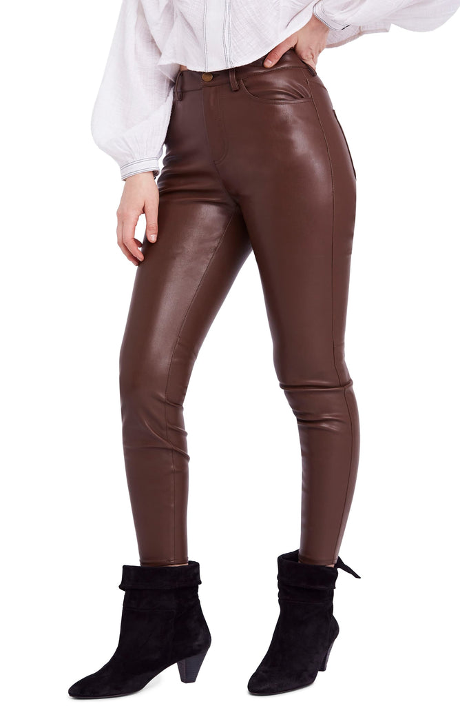 Yieldings Discount Clothing Store's Faux Leather High Rise Pants by Free People in Brown