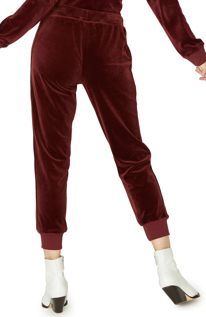 Yieldings Discount Clothing Store's Velour Jogger Pants by Sanctuary in Scarlet