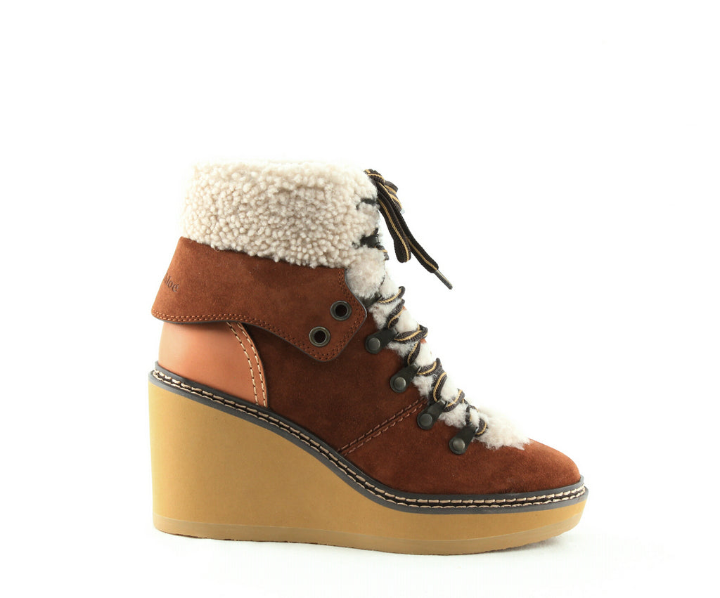 See by Chloe | Eileen Shearling-Lined Wedge Hiker Booties