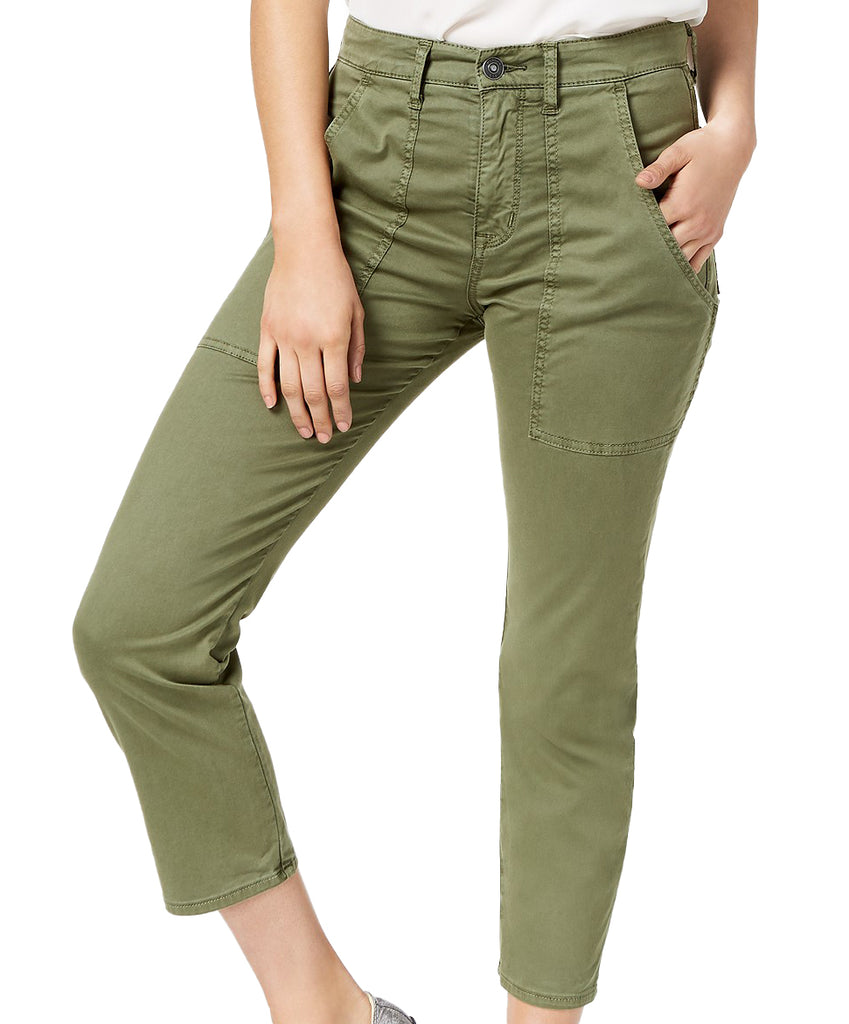 Yieldings Discount Clothing Store's Leverage Cropped High Rise Ankle Cargo Pants by Hudson in Forest