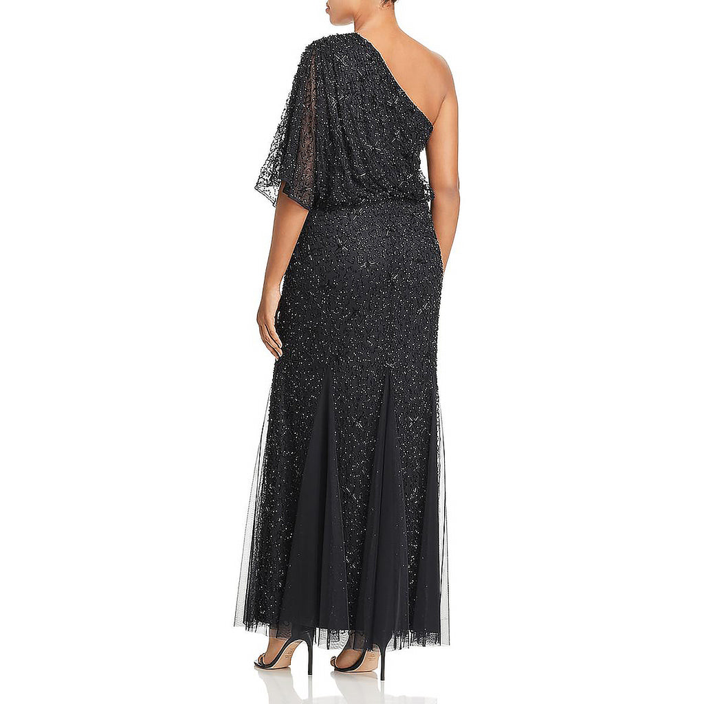 Yieldings Discount Clothing Store's Beaded One-Shoulder Evening Dress by Adrianna Papell in Midnight Black