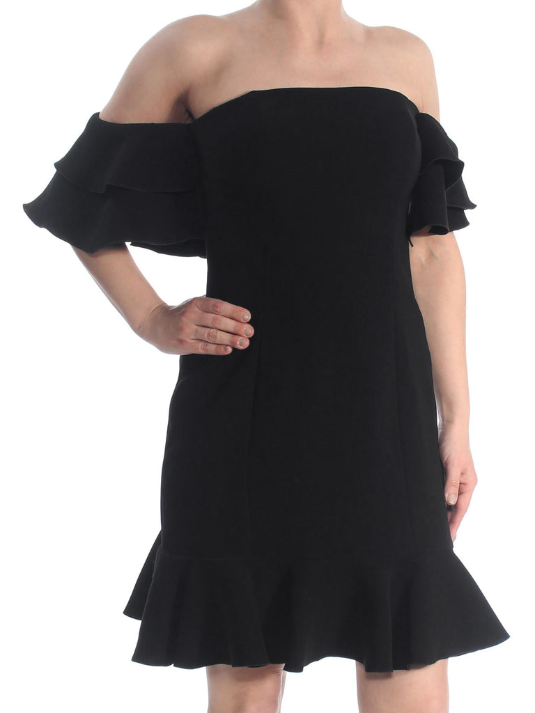 Rachel Zoe | Black Ruffle Hem Off Shoulder Above the Knee Cocktail Dress
