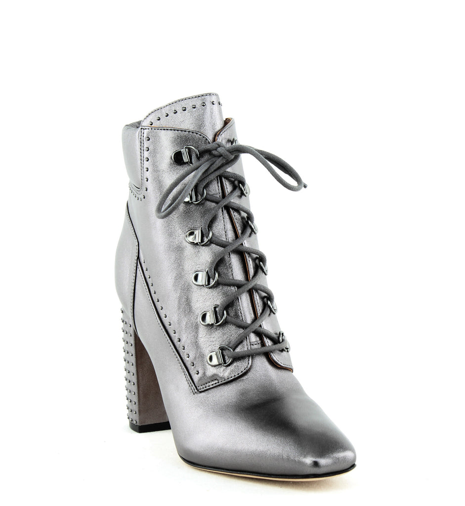 Yieldings Discount Shoes Store's Valora Studded Ankle Booties by Sigerson Morrison in Pewter