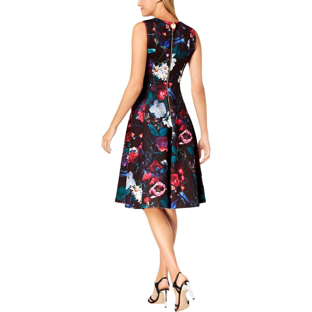 Yieldings Discount Clothing Store's Floral Scuba Midi Fit & Flare Dress by Calvin Klein in Black Multi