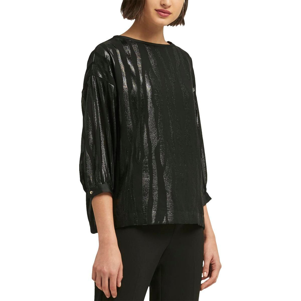 Yieldings Discount Clothing Store's Metallic Mixed Media Pullover Top by DKNY in Black