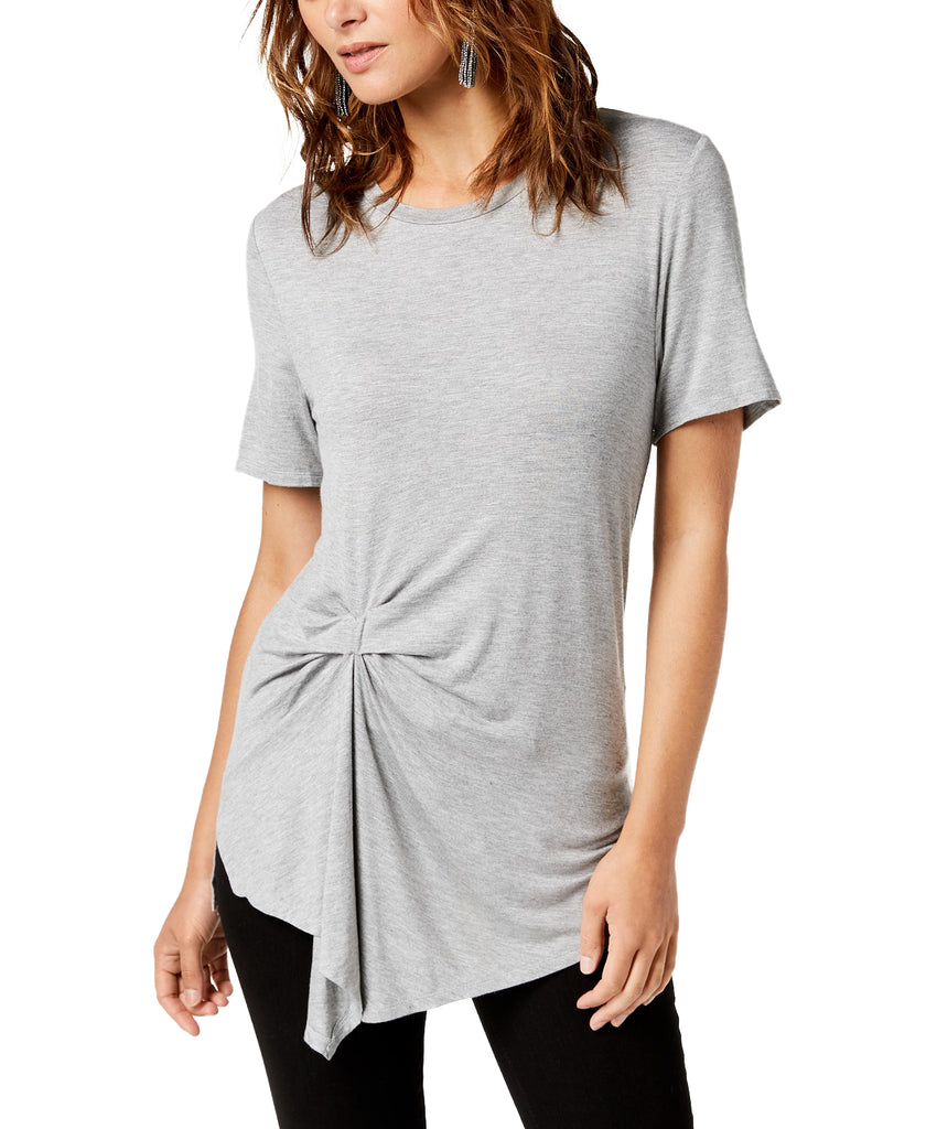 Yieldings Discount Clothing Store's July Drape Front Tee by RACHEL Rachel Roy in Heather Grey