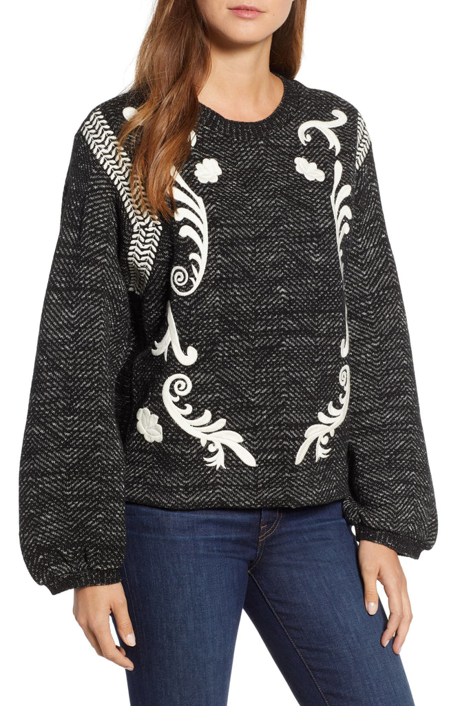Lucky Brand | Scroll-Embroidered Balloon-Sleeve Sweater