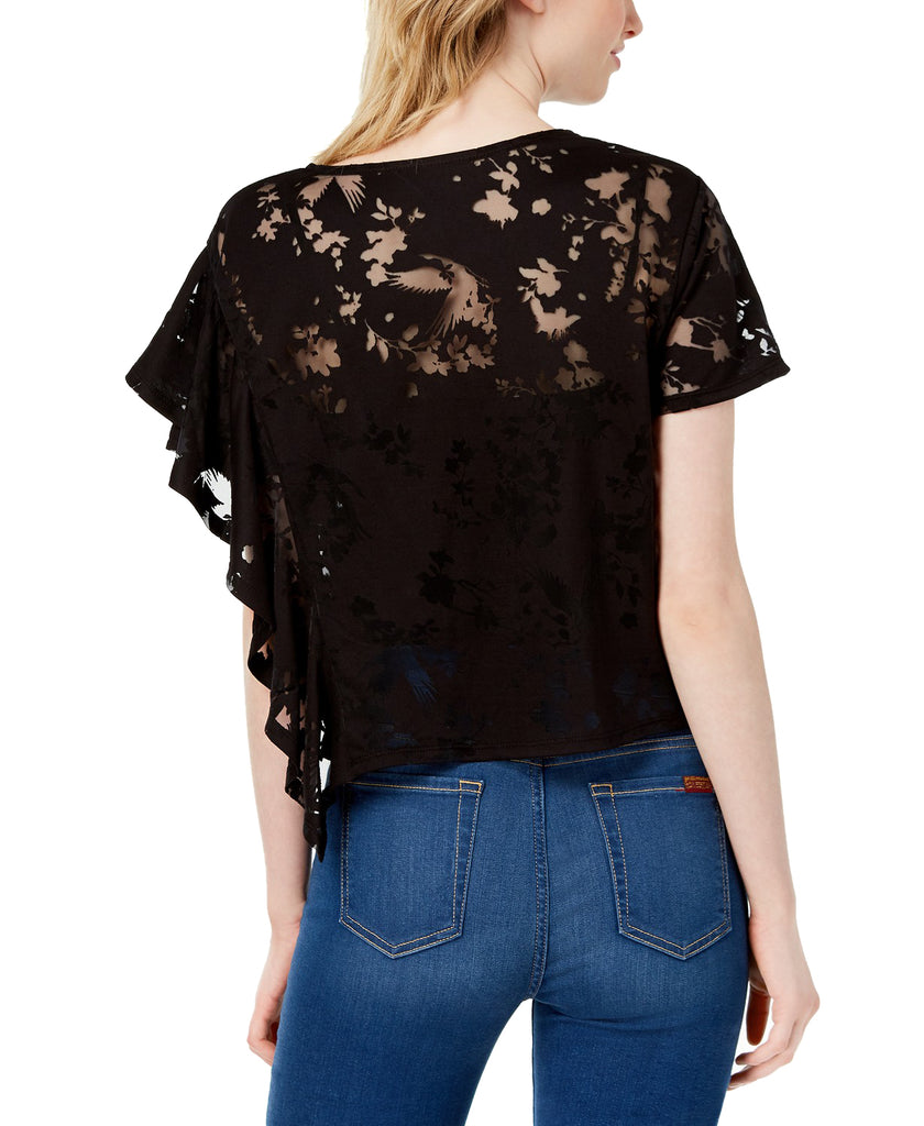 Yieldings Discount Clothing Store's Boho Sunset Burnout T-Shirt by Bar III in Deep Black