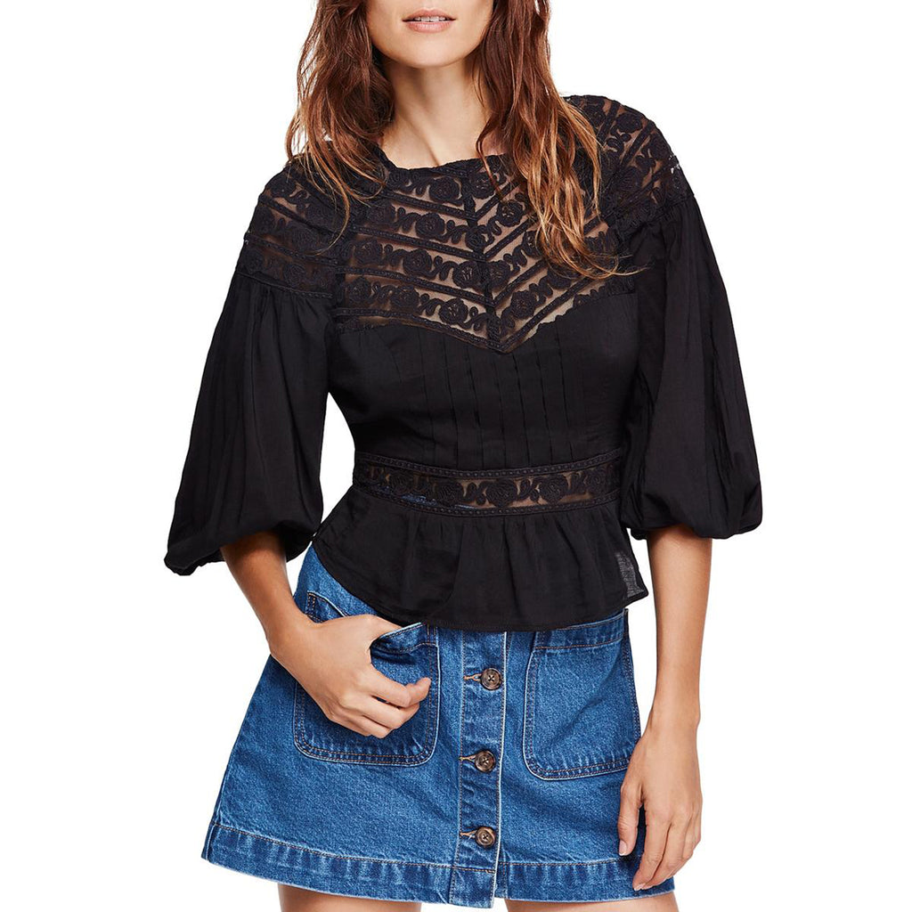 Yieldings Discount Clothing Store's Sweet Mornings Top by Free People in Black