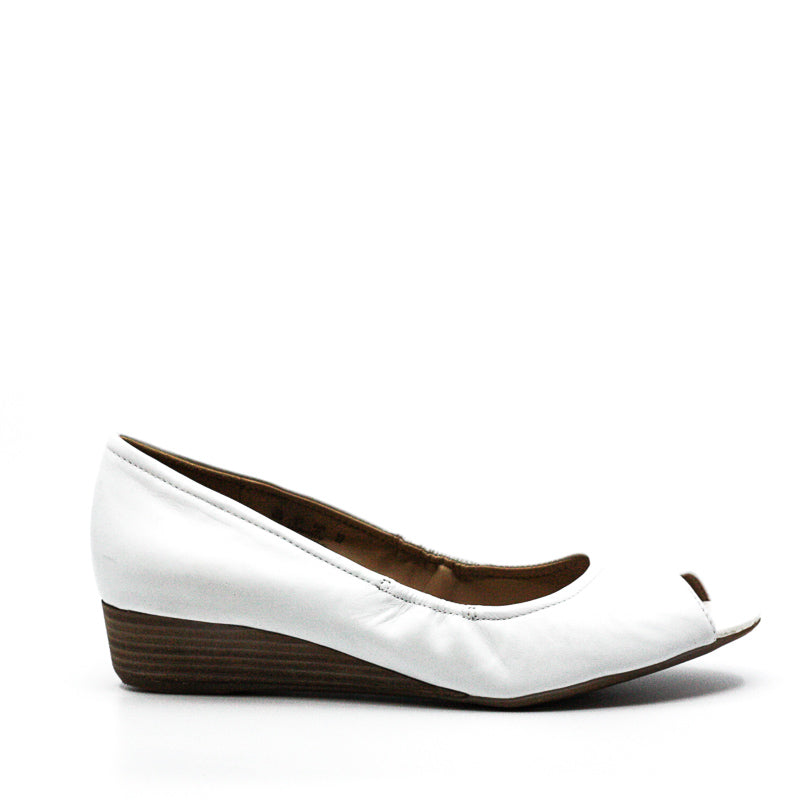 Yieldings Discount Shoes Store's Contrast Peep Toe Wedges by Naturalizer in White