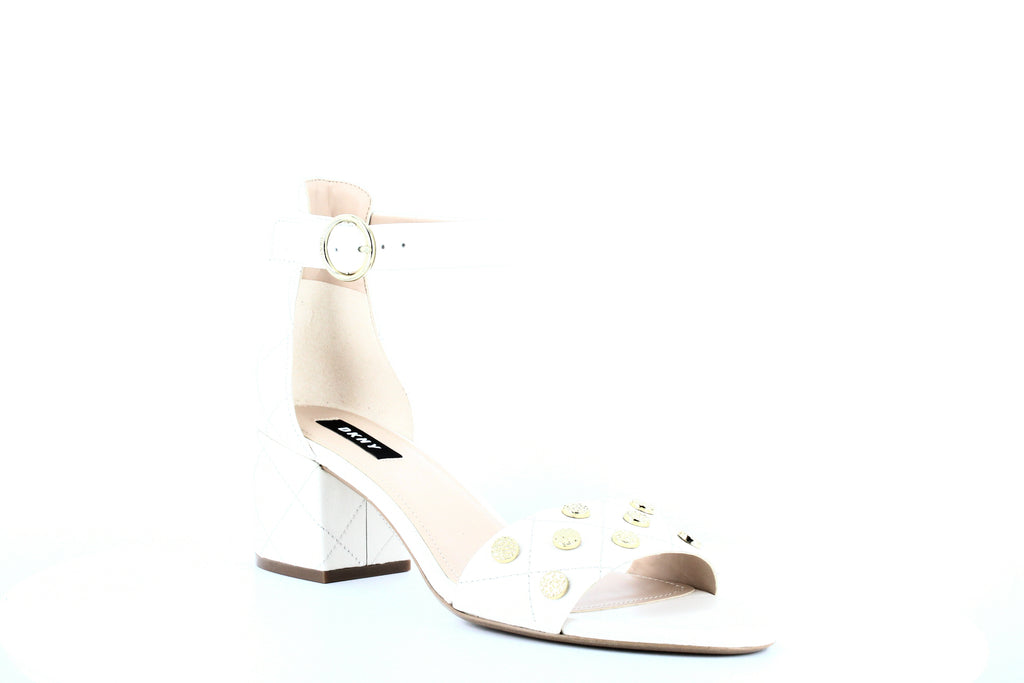 Yieldings Discount Shoes Store's Henli Block Heel Sandals by DKNY in Ivory