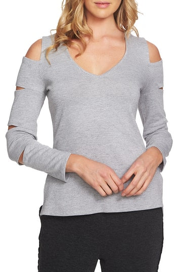 Yieldings Discount Clothing Store's V-Neck Slit-Sleeve Sweater by 1.State in Heather Grey