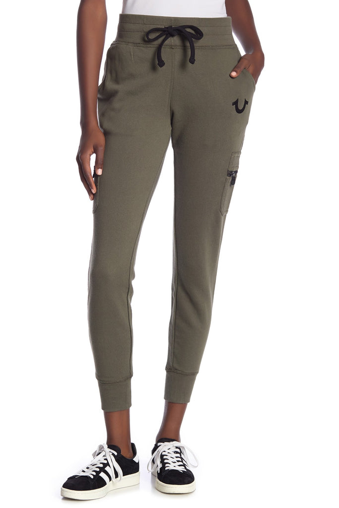 Yieldings Discount Clothing Store's Cargo Zip Jogger by True Religion in Militant Green