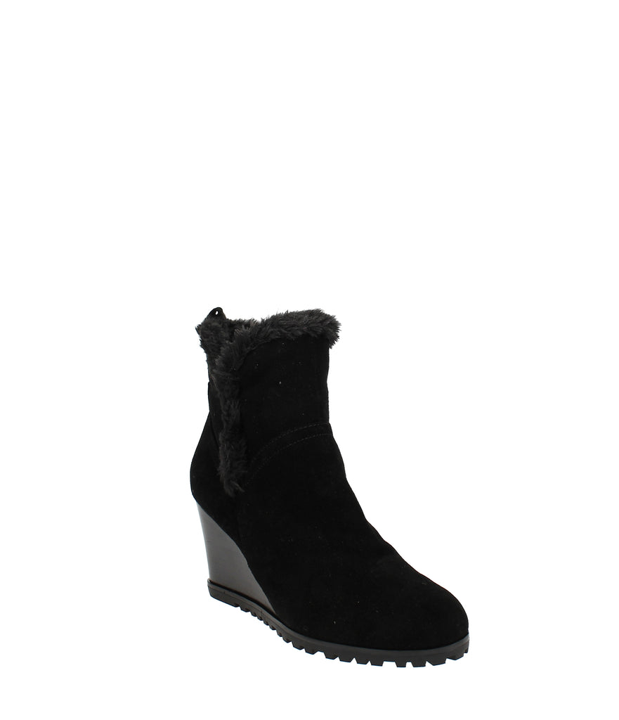 Yieldings Discount Shoes Store's Cici Wedge Booties by Nine West in Black Multi Suede
