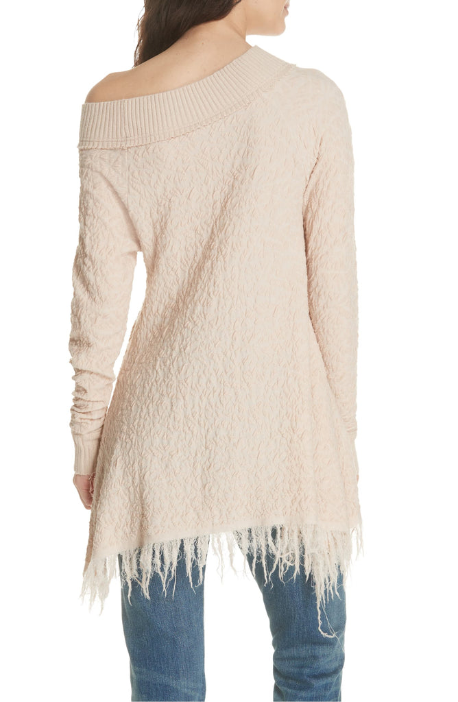 Yieldings Discount Clothing Store's Broken Glass Textured Fringe Sweater by Free People in Rose