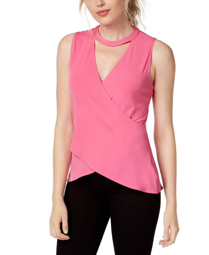Yieldings Discount Clothing Store's V-Neck Choker Top by RACHEL Rachel Roy in Vivid Pink