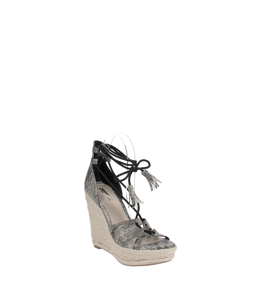Yieldings Discount Shoes Store's Ollina Wedge Sandals by Guess in Black Multi