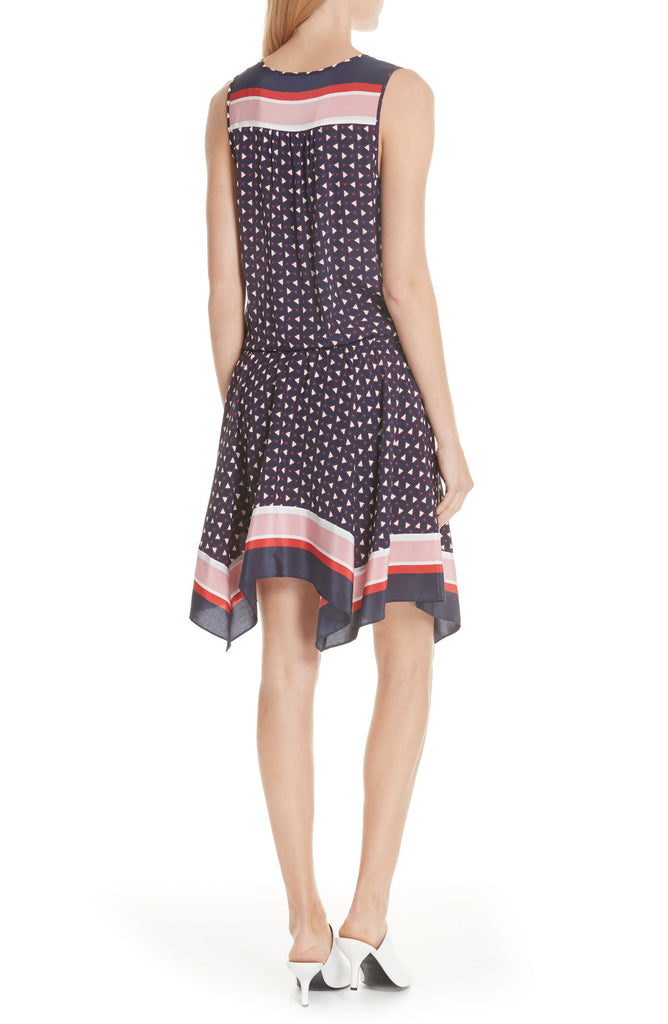 Yieldings Discount Clothing Store's Ginabel Printed Mini Dress by Joie in Dark Navy