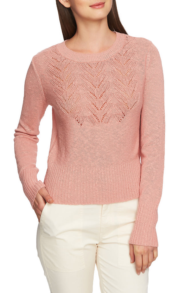 Yieldings Discount Clothing Store's Pointelle-Yoke Long-Sleeve Sweater by 1.State in Rose Wood