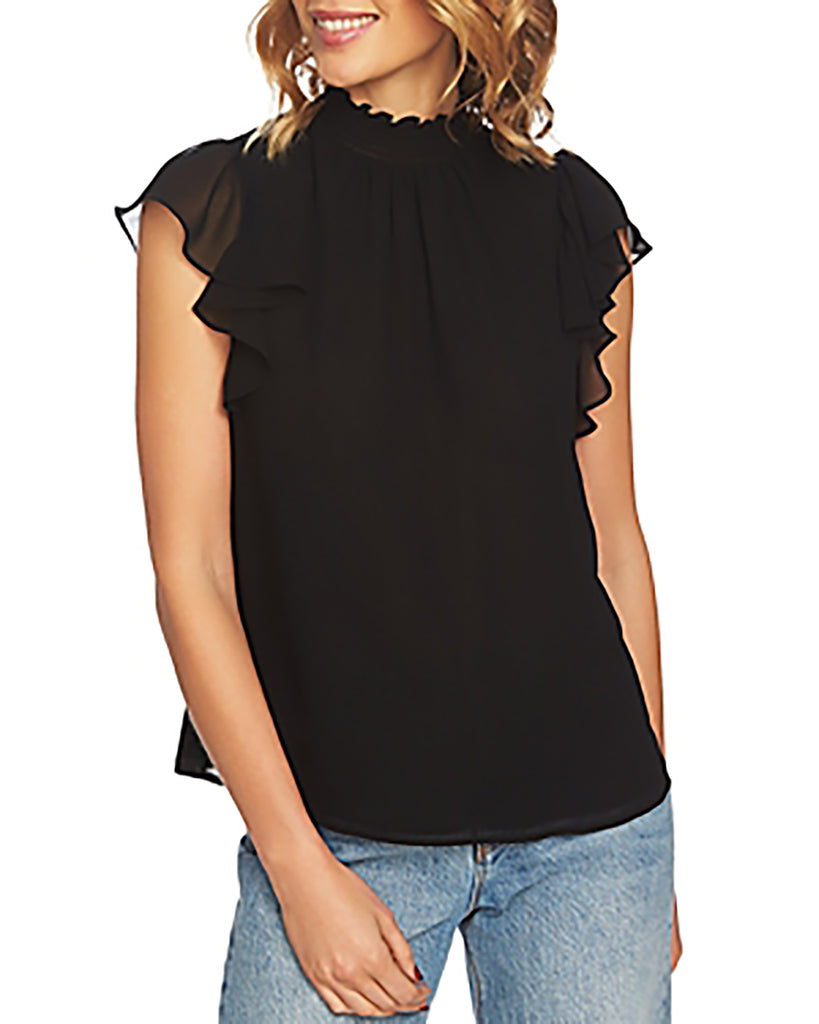 Yieldings Discount Clothing Store's Flutter-Sleeve Solid Top by 1.State in Rich Black