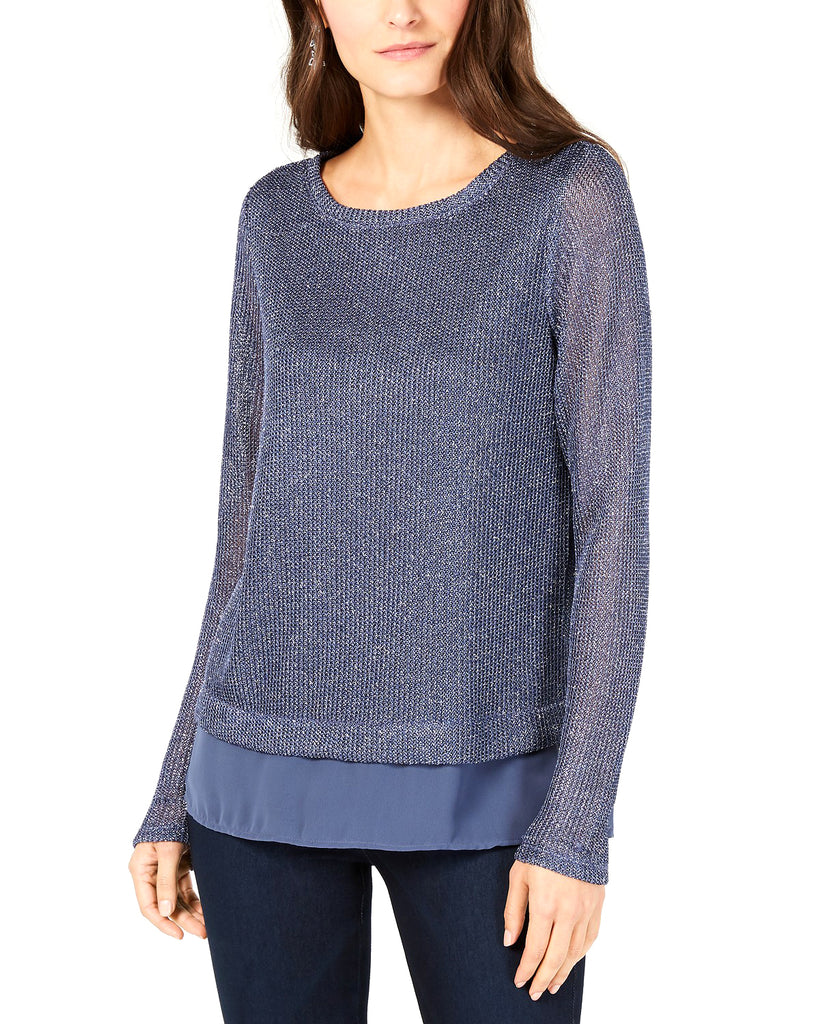 Yieldings Discount Clothing Store's Faux-Layered Sweater by INC in Inkberry