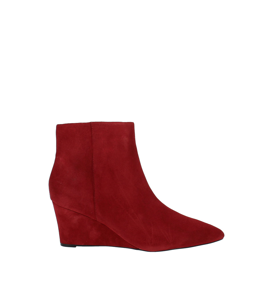 Yieldings Discount Shoes Store's Carter Wedge Booties by Nine West in Medium Red