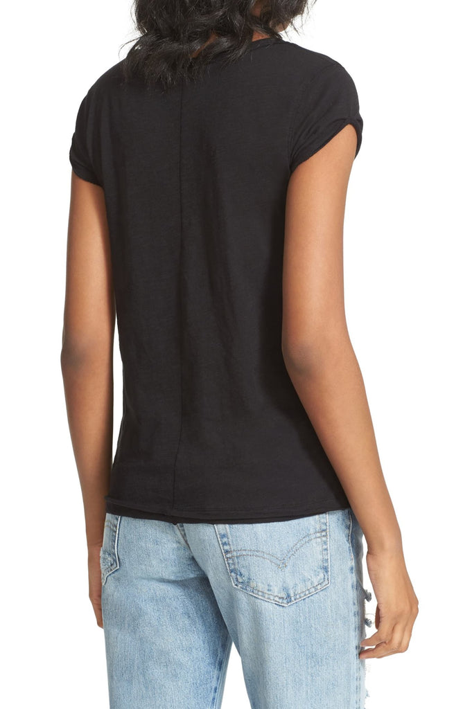 Yieldings Discount Clothing Store's Clare Cap Sleeve T-Shirt by Free People in Black