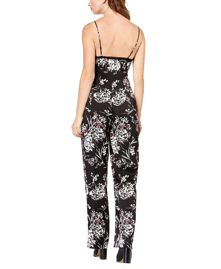Yieldings Discount Clothing Store's Lux Garden Fever Print Jumpsuit by Guess in Magnolia Night Print Jet Black