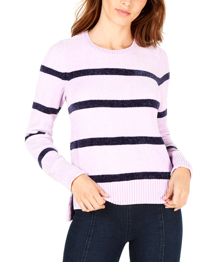 Yieldings Discount Clothing Store's Striped Chenille Sweater by Maison Jules in Lilac Moon Combo