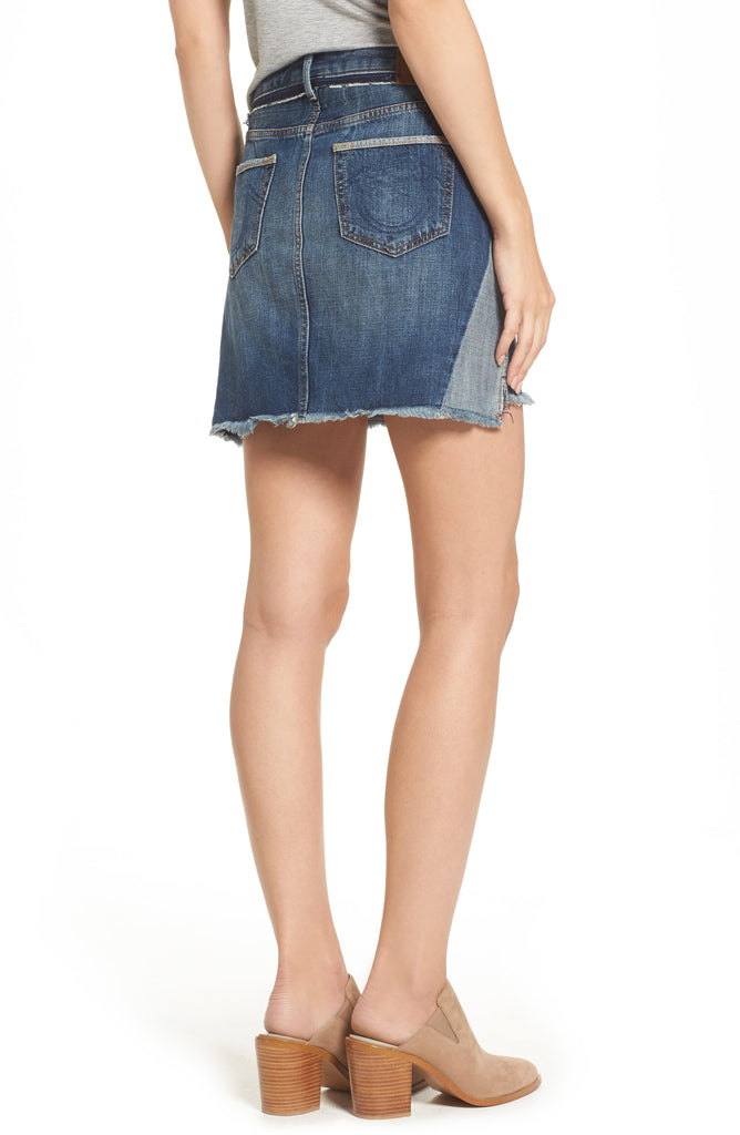 Yieldings Discount Clothing Store's Step-Hem Denim Skirt by True Religion in Broken Record