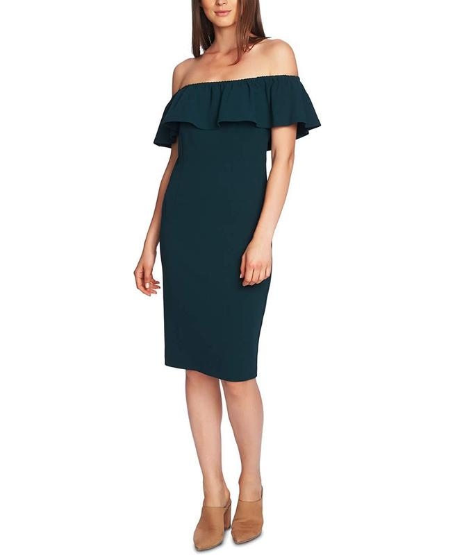 Yieldings Discount Clothing Store's Off Shoulder Ruffle Dress by 1.State in Pine