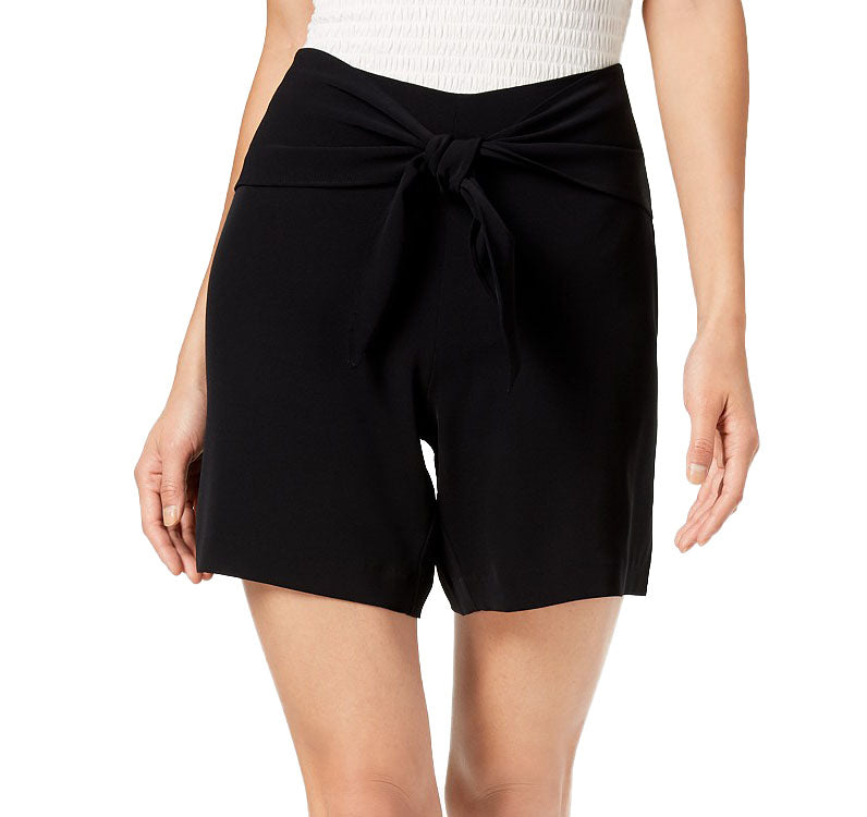 Yieldings Discount Clothing Store's Tie Front Shorts by Bar III in Deep Black