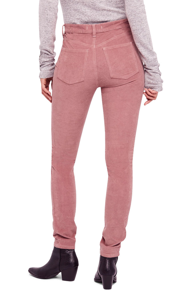Yieldings Discount Clothing Store's High Rise Long and Lean Corduroy Pants by Free People in Modern Mauve