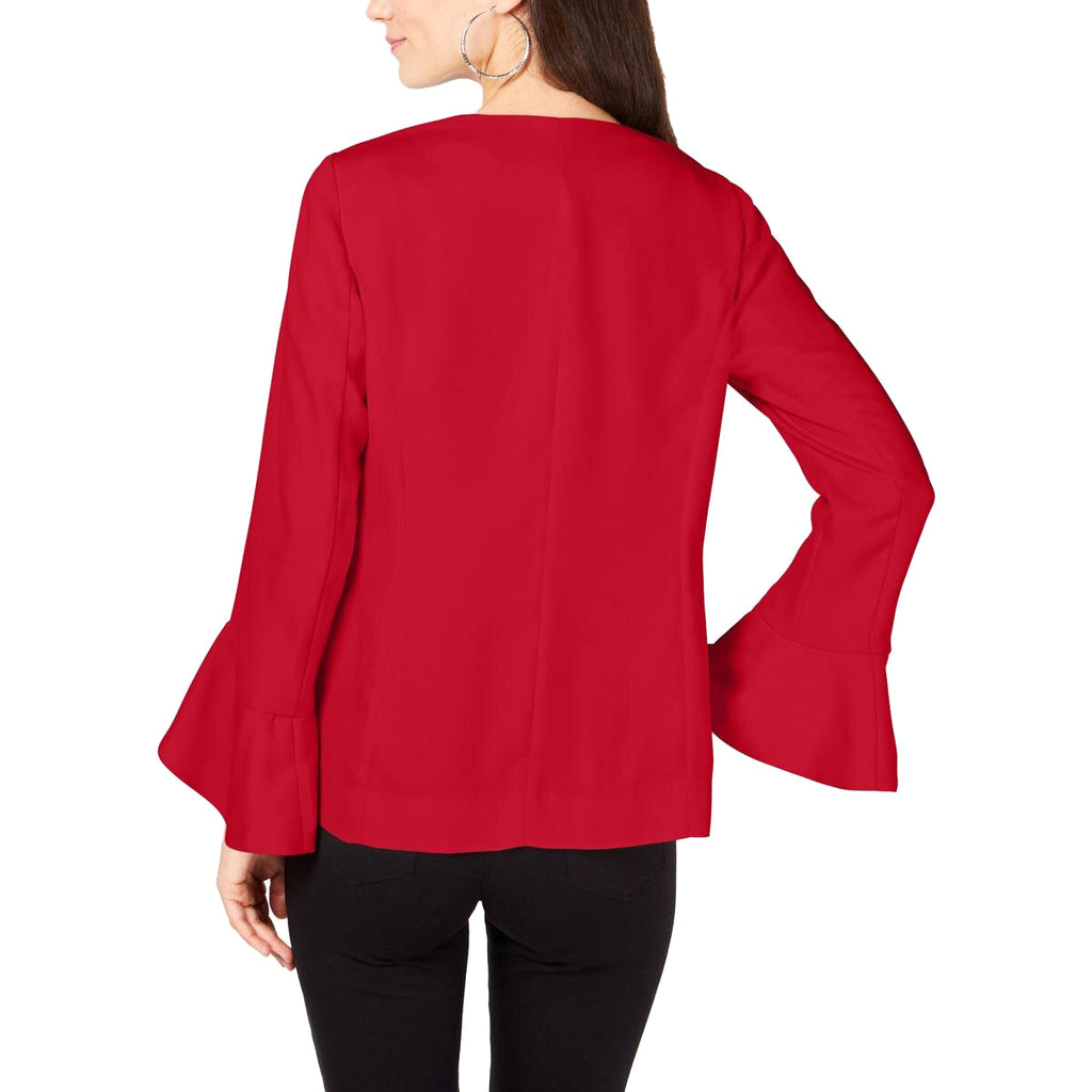 Yieldings Discount Clothing Store's Open Front Flutter Sleeves Jacket by Alfani in Chinese Red