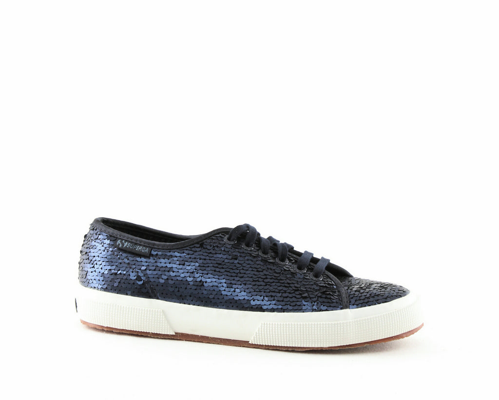 Yieldings Discount Shoes Store's 2750 Sequined Sneakers by Superga in Navy