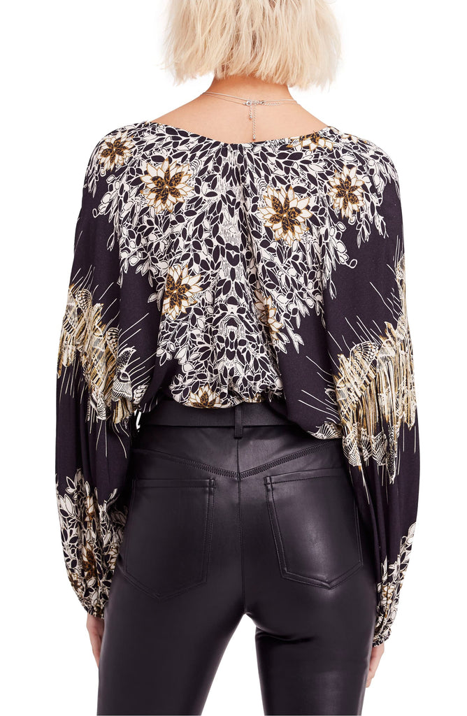 Yieldings Discount Clothing Store's Birds of a Feather Printed Peasant Top by Free People in Black Combo