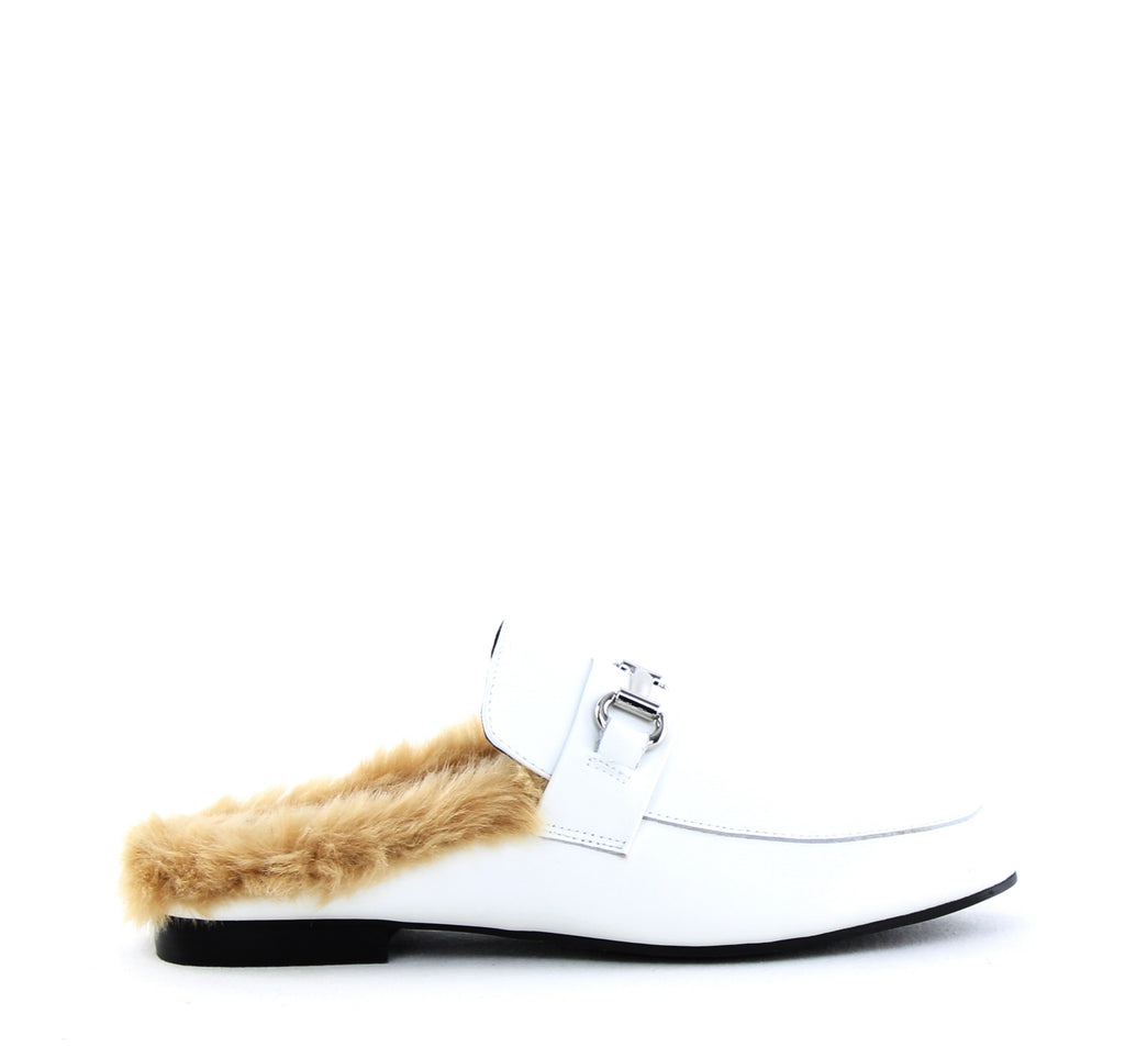 Yieldings Discount Shoes Store's Jill Slide-On Flats by Steve Madden in White