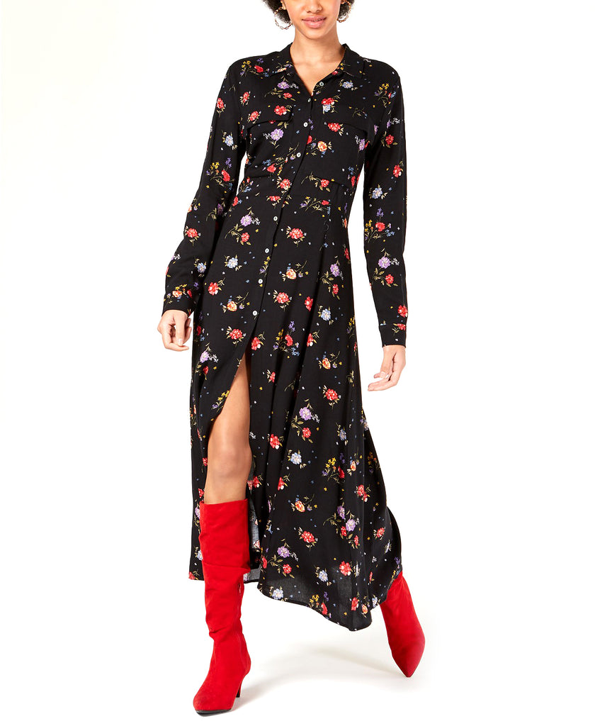 Yieldings Discount Clothing Store's Floral Printed Maxi Shirt Dress by Project 28 NYC in Black Floral Print
