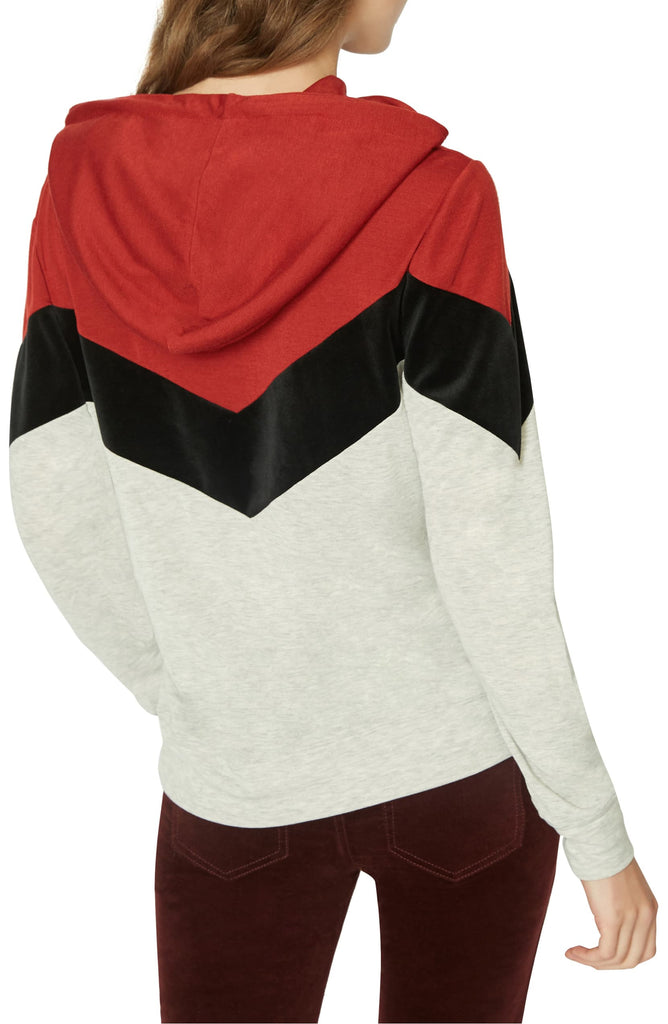 Yieldings Discount Clothing Store's Varsity Track Hoodie by Sanctuary in Heather/Red/Black