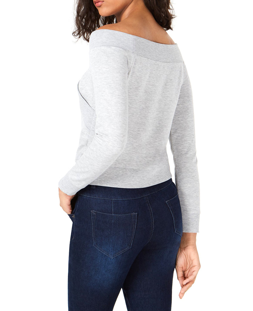 Yieldings Discount Clothing Store's Off-the-Shoulder Sweatshirt by Bar III in Heather Belle Grey