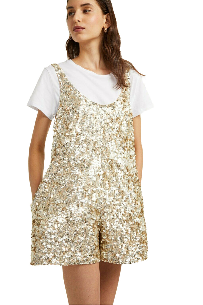 Yieldings Discount Clothing Store's Scoop Neck Dia Sequin Overall by French Connection in Gold