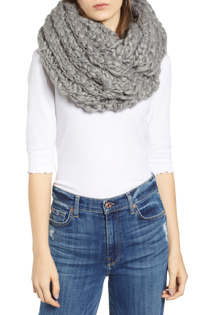 Yieldings Discount Accessories Store's Dreamland Chunky Knit Infinity Scarf by Free People in Grey