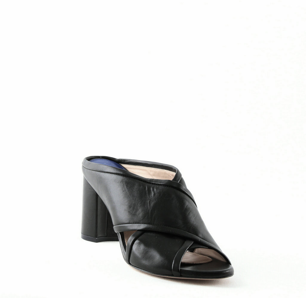 Yieldings Discount Shoes Store's Sam 75 Slide Sandals by Stuart Weitzman in Black Bama