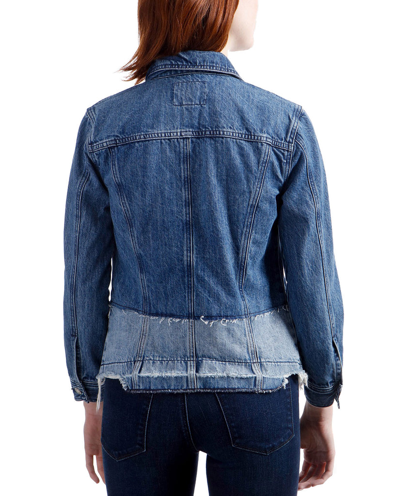 Yieldings Discount Clothing Store's Waisted Trucker Denim Jacket by Lucky Brand in Blue