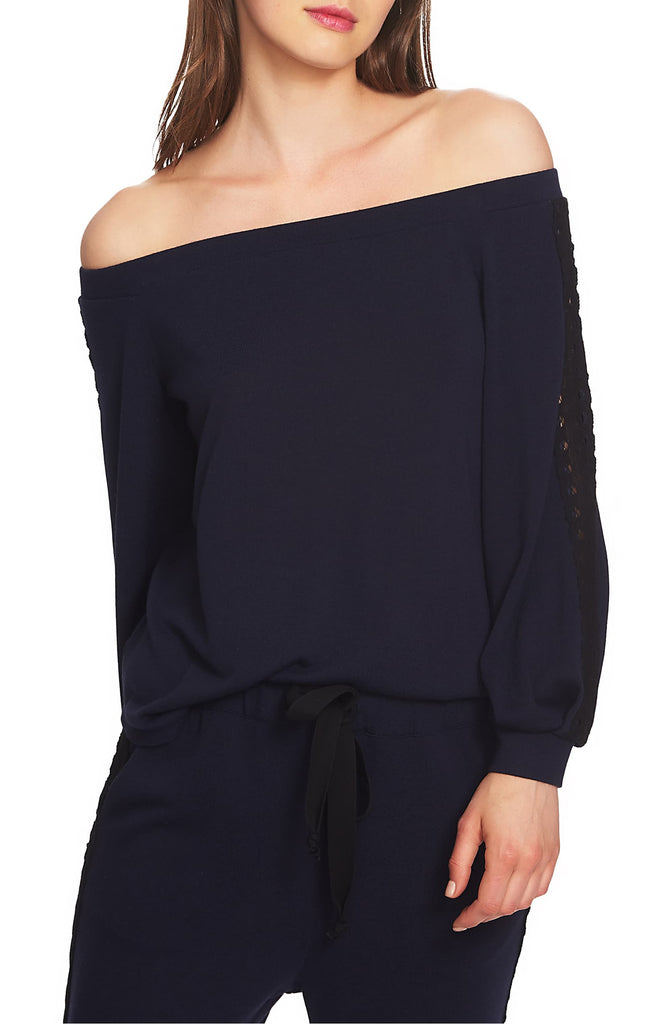 Yieldings Discount Clothing Store's Lace Detail Off the Shoulder Top by 1.State in Blue Night