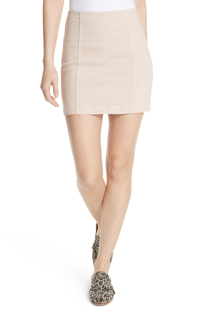 Yieldings Discount Clothing Store's Modern Femme Denim Mini Skirt by Free People in Stone