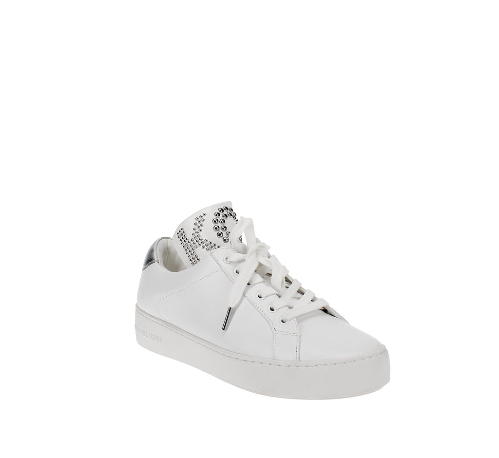 Yieldings Discount Shoes Store's Mindy Lace-Up Sneakers by MICHAEL Michael Kors in Optic White/Silver